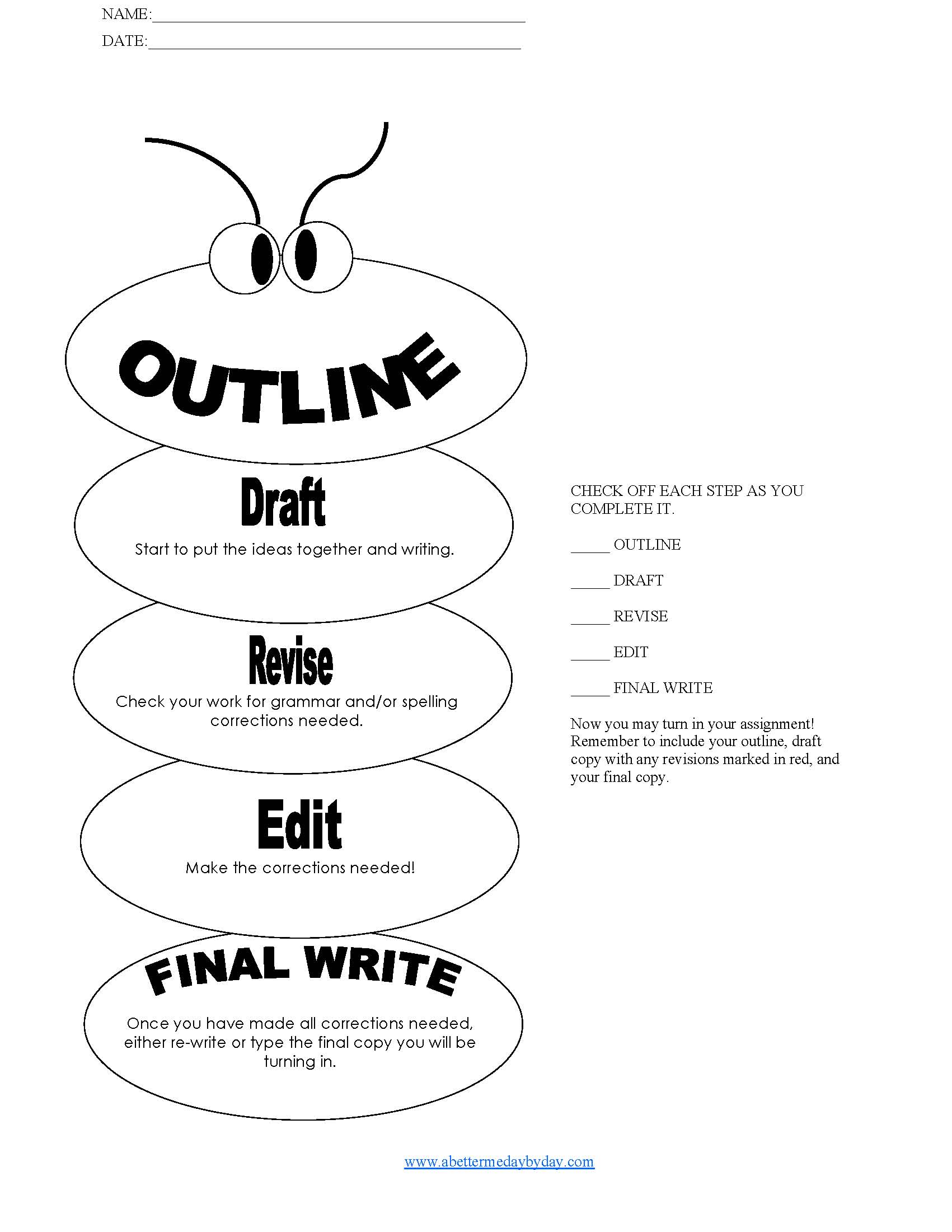 Essay Writing Process Frames