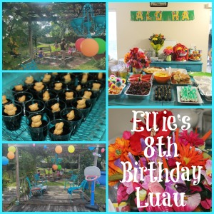 abettermedaybyday.com - 8th Birthday Luau - food displays - jello - flowers - balloons - outdoors