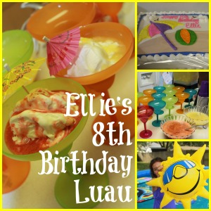 abettermedaybyday.com - 8th Birthday Luau - ice cream - fresh strawberry and pineapple sauces - cake - inflatables