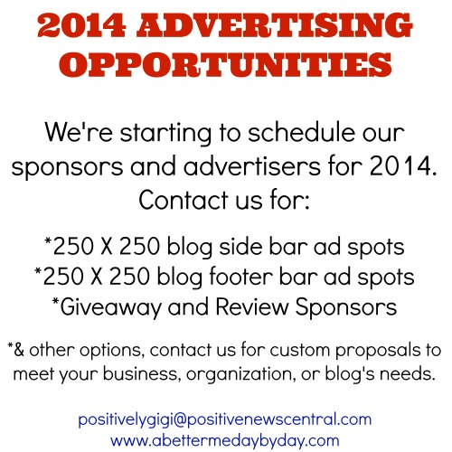 2014 Advertising Opportunities for businesses, organizations, and other blogs at www.abettermedaybyday.com
